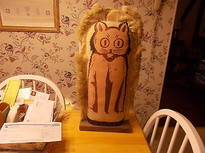 Early 1900S Very Large Size Cat Carnival Knock Down Painted On Canvas With Fur