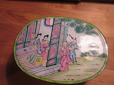 "Superb LARGE Antique Qing Qianlong Chinese canton enamel box 6"" lmperial figures"