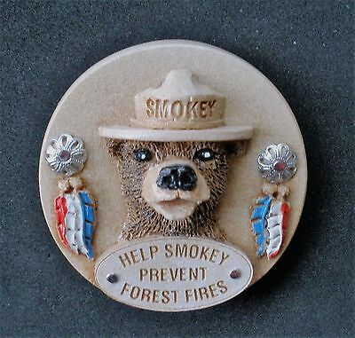 """Smokey Bear Magnet   Wood Look-Alike   """"Help Smokey Prevent Forest Fires"""""""