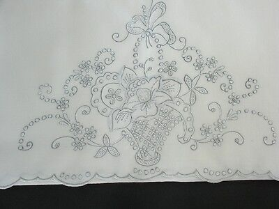 "32 3/4"" x 19 1/2"" Vintage Madeira Cutwork Hand Embroidered Pillowcases, White"