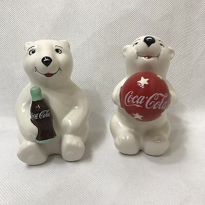 Coca Cola Salt & Pepper Shakers Polar Bear Playtime Cubs Gibson 2002