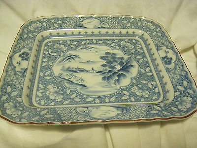 """BLUE AND WHITE SERVING 10.25"""" TRAY- MOUNTAINS/PAGODA/ FLORAL Made in China?"""