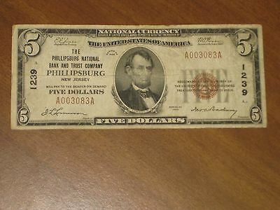 1929 Type 1 $10 National Bank Note NB&T Phillipsburg New Jersey #1239