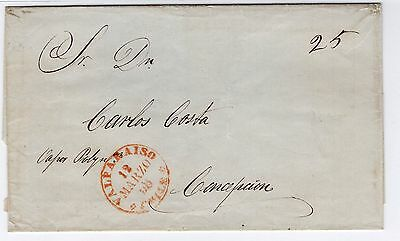 CHILE 1858 Valparaiso to Concepción stampless cover TAXED 25c