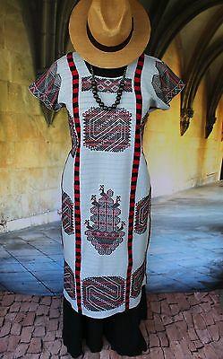 Blue, Red & Black Hand Woven & Embroidered Chinantec Huipil Oaxaca Mexico Hippie