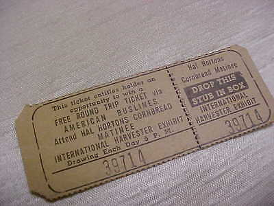 Vintage Hal Horton's Cornbread Matinee International Harvester Exibit Ticket