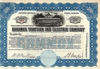 Rare - Kanawha Traction And Electric Company Stock Certificate - Unissued - Blue