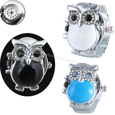 Fashion Round Retro Owl Finger Clamshell Ring Watch Women elastic Watchband 2cm