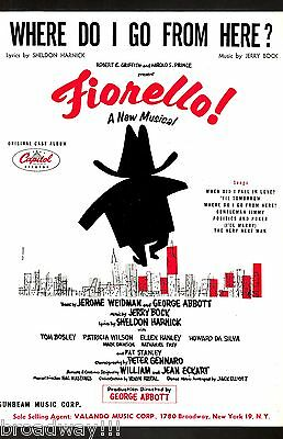 """Bock & Harnick """"FIORELLO!"""" (Song Cut During Tryouts) Tom Bosley 1959 Sheet Music"""
