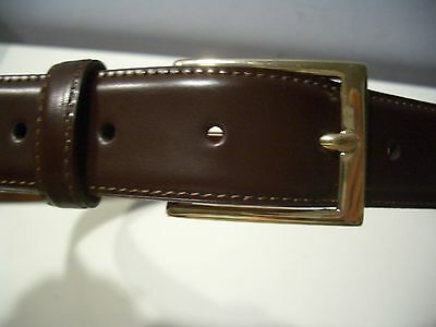Brooks Brothers Men's 36 Belt Brown  Leather With  Gold  Buckle  Nwt  Italy