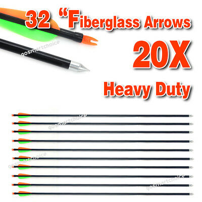 "20x Fiberglass 32"" Arrows 15-80LB Archery Hunting Target Recurve Compound Bow"