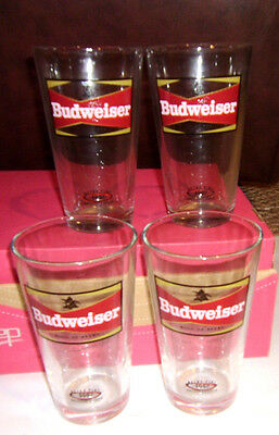 Budweiser Retro Pint Beer Glass Set of 4- Retro 1957 Logo Throwback Cool Glasses