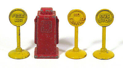 1930s Vintage Metal TOY GAS STATION Signs Gas Pump FREE AIR NO PARKING BUS STOP