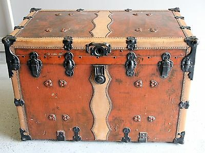 Antique Flat Top Steamer Trunk - Refinished