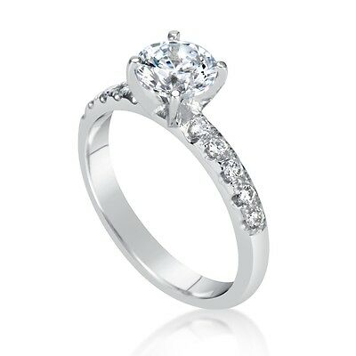 1.67 Ct Round Cut D Si1 Diamond Solitaire Engagement Ring 18K White Gold