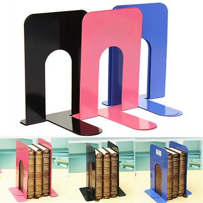 2Pcs Heavy Duty Metal Bookends Books End For Home Offices Supplies Stationery UK