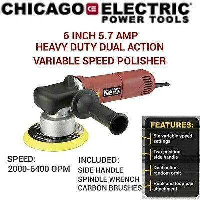 NEW 6 Inch Electric 5.7 AMP Heavy Duty Dual Action Variable Speed Polisher BUFF