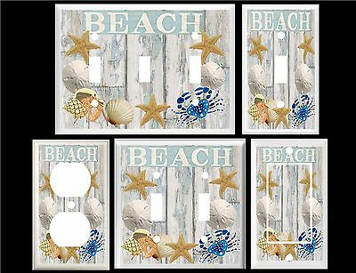 Beach Seashells On Beach Wood Light Switch Cover Plate Or Outlet V942