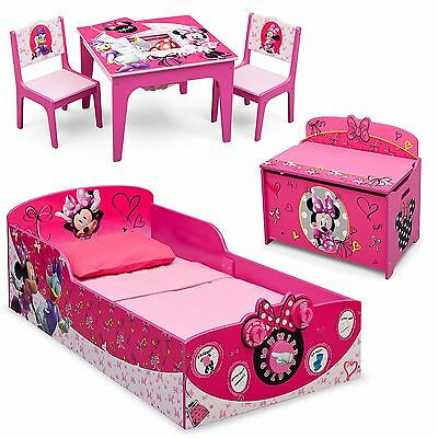 NEW 3 Piece Set Minnie Mouse Wood Toddler Bed, Toy Box & Table Chair Set