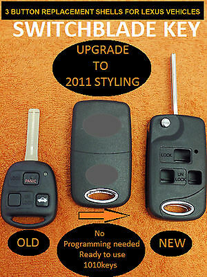 PRE-CUT 3 BUTTON FLIP REMOTE SHELL KEY-REPAIR KEY FOB CASE w/ FREE BATTERY CR