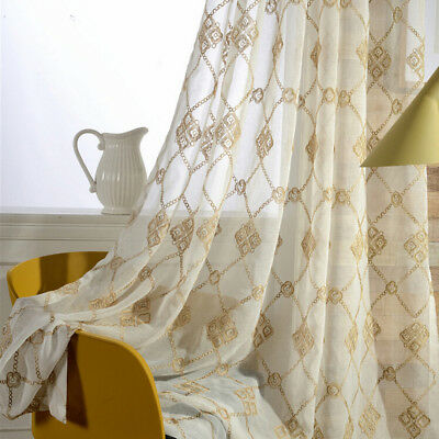 Embroidery Window Sheer European Tulle Curtains Room Drape for Balcony 1 Piece