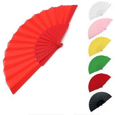 Special Handheld Plastic Fabric Hand Folding Fan Outdoor Wedding Party GT