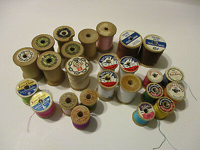 Vintage 25 wooden Spools J & P Coats Belding Talon Liberty Thread Lot Sewing