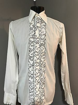 Men's 1970's White Ruffle Tuxedo Shirt With Black various sizes
