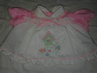 Vintage Baby Dress Momma and Poppa Bird w/Chicks Embroidered 18months