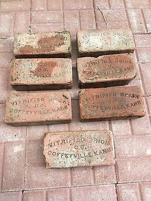 7 Identical antique street paver bricks Coffeyville Ks Montgomery Co Sidewalk
