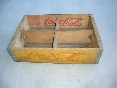 Vintage 1952 Wooden Yellow Coca-Cola Coke Soda Pop Bottle Crate Carrier Box