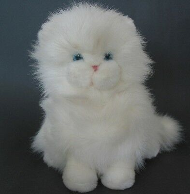 VTG Dakin Fluffy Soft Plush White Persian Kitten Life-Like Cat Blue Eyes EXCELL