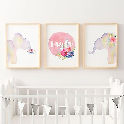 Girls Boho Floral Watercolour Elephants with Name Print - Nursery or Bedroom Wal