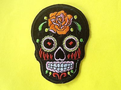 Patch skull tete de mort mexican sugar cavalera custom Noir thermocollant 9x7