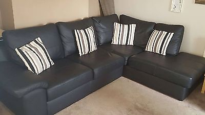 faux leather 3 piece suite in BLACK L shaped sofa and 2 chairs