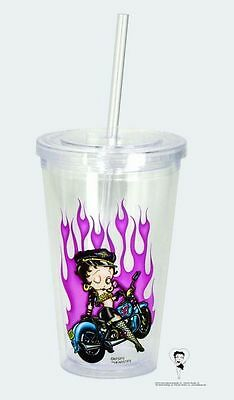 Betty Boop Biker Flames, BPA free Insulated ACRYLIC Cup w/ Straw, NEW #16123 OoP