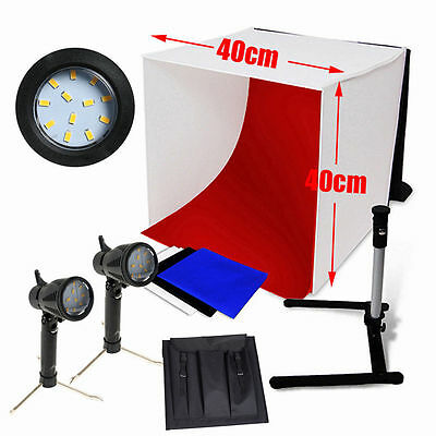 40cm Portable Photo Studio Softbox Light Tent 2x15W LED Lighting Stand Backdrops