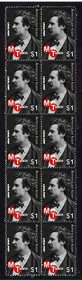 Mark Twain American Icon Strip Of 10 Mint Stamps 3