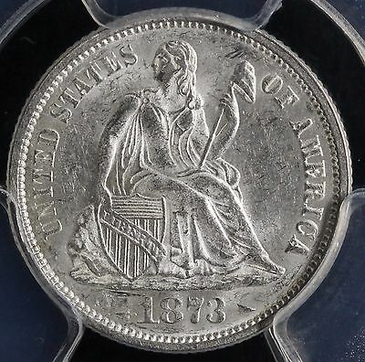 1873 10C Arrows Liberty Seated Dime Pcgs Ms 63