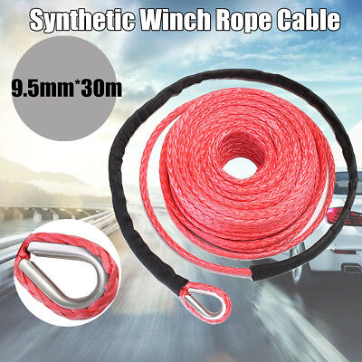3/8''100FT Synthetic Winch Line Cable Recovery Rope 15000lbs For ATV SUV OffRoad