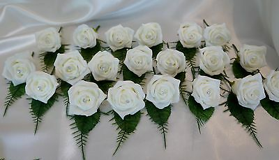 25 Ivory Rose Crystal Wedding Buttonhole Package