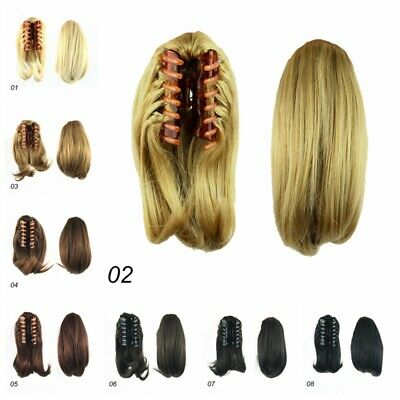 """AU Short Straight 10"""" Ponytail Clip In Hair Extensions Claw Ponytail Fake Hair"""