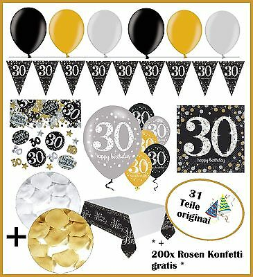 festefeiern party deko zum 30 geburtstag gold schwarz silber 31 teile eur 21 95 picclick de. Black Bedroom Furniture Sets. Home Design Ideas