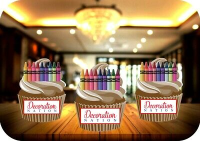Colouring Crayons 12 Edible STANDUP Cake Toppers Decoration Colour Nursery Kids