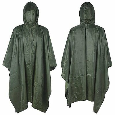 Waterproof Hooded Camping Hunting Poncho Raincoat Rain Cover Tent Mat Hiking AU