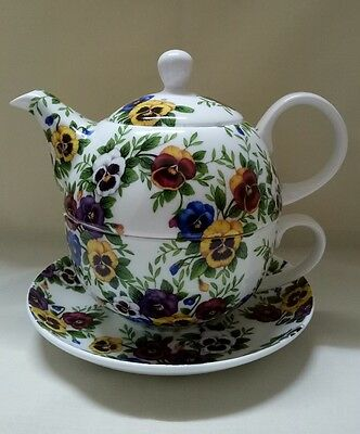 Giant Swiss Pansy  Fine Bone China Tea for one