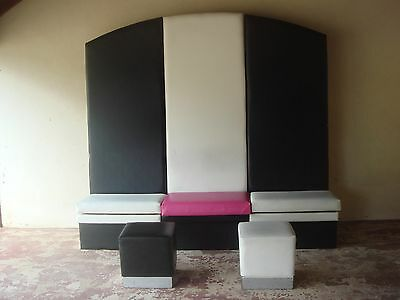 Booth Seating - black & white vinyl covering