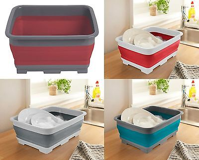 Silicon Collapsible Washing Up Bowl Camping Caravans Small Kitchen Space Saving