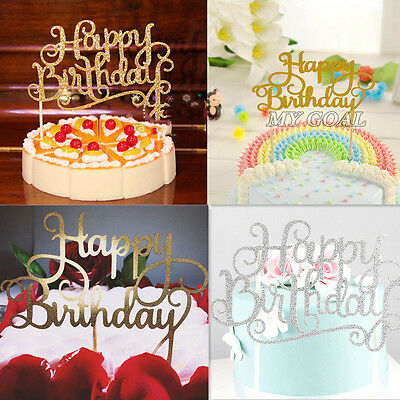 HAPPY BIRTHDAY Cake Decor Pick Topper Spark Glitter Party Favour Gift Craft DIY