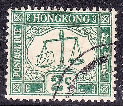 HONG KONG 1924 Postage Due  2 CentS Green Watermark Upright Fine Used